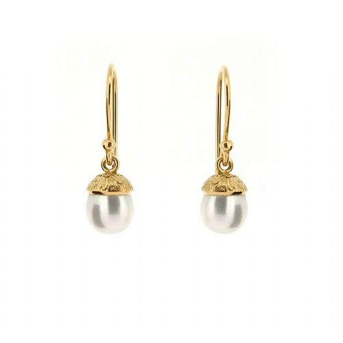 Silver Acorn Pearl Earrings